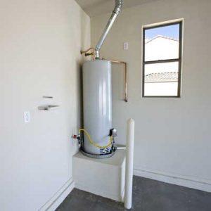 water heater in corner of room
