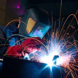 welder with sparks